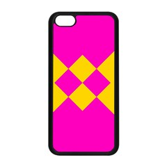 Yellow Pink Shapes Apple Iphone 5c Seamless Case (black) by LalyLauraFLM