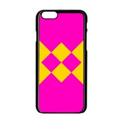 Yellow Pink Shapes Apple Iphone 6 Black Enamel Case by LalyLauraFLM