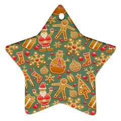Santa And Friends Pattern Star Ornament (two Sides)  by LovelyDesigns4U