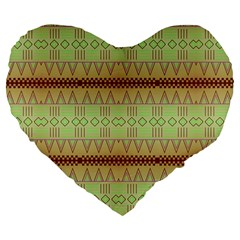 Aztec Pattern Large 19  Premium Heart Shape Cushion by LalyLauraFLM