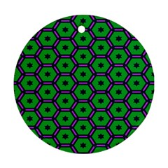 Stars In Hexagons Pattern Ornament (round) by LalyLauraFLM