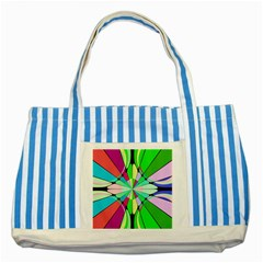 Distorted Flower Striped Blue Tote Bag by LalyLauraFLM