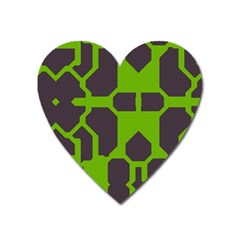 Brown Green Shapes Magnet (heart) by LalyLauraFLM