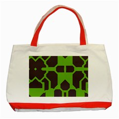 Brown Green Shapes Classic Tote Bag (red) by LalyLauraFLM