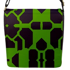 Brown Green Shapes Flap Closure Messenger Bag (s) by LalyLauraFLM