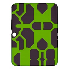 Brown Green Shapes Samsung Galaxy Tab 3 (10 1 ) P5200 Hardshell Case  by LalyLauraFLM