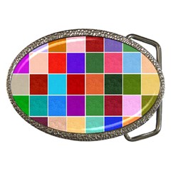 Multi Colour Squares Pattern Belt Buckles by LovelyDesigns4U