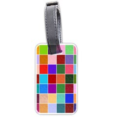 Multi Colour Squares Pattern Luggage Tags (two Sides) by LovelyDesigns4U