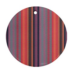 Triangles And Stripes Pattern Round Ornament (two Sides) by LalyLauraFLM