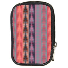 Triangles And Stripes Pattern Compact Camera Leather Case by LalyLauraFLM