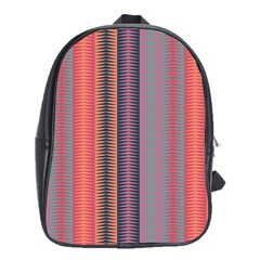 Triangles And Stripes Pattern School Bag (large) by LalyLauraFLM