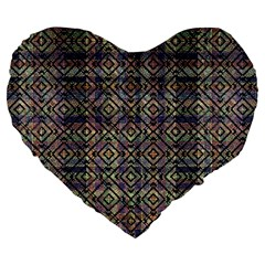 Multicolored Ethnic Check Seamless Pattern Large 19  Premium Heart Shape Cushions by dflcprints