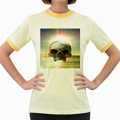 Skull Sunset Women s Fitted Ringer T Shirts by icarusismartdesigns