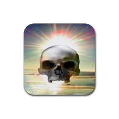 Skull Sunset Rubber Square Coaster (4 Pack)  by icarusismartdesigns