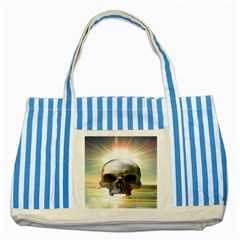 Skull Sunset Striped Blue Tote Bag  by icarusismartdesigns