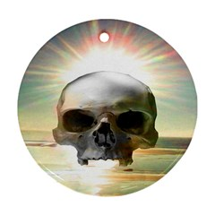 Skull Sunset Round Ornament (two Sides)  by icarusismartdesigns
