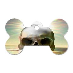 Skull Sunset Dog Tag Bone (one Side) by icarusismartdesigns