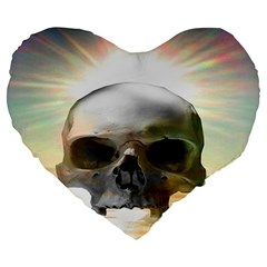 Skull Sunset Large 19  Premium Heart Shape Cushions by icarusismartdesigns