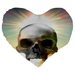 Skull Sunset Large 19  Premium Flano Heart Shape Cushions by icarusismartdesigns