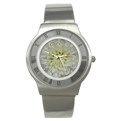 White Flowers Stainless Steel Watches by timelessartoncanvas