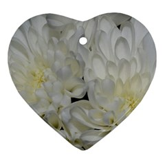 White Flowers 2 Ornament (heart)  by timelessartoncanvas