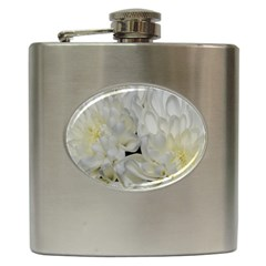 White Flowers 2 Hip Flask (6 Oz) by timelessartoncanvas