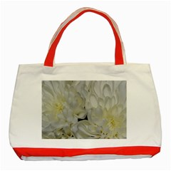 White Flowers 2 Classic Tote Bag (red)  by timelessartoncanvas