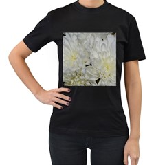 White Flowers 2 Women s T Shirt (black) by timelessartoncanvas