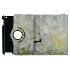 White Flowers 2 Apple Ipad 2 Flip 360 Case by timelessartoncanvas