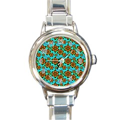 Neon Retro Flowers Aqua Round Italian Charm Watches by MoreColorsinLife