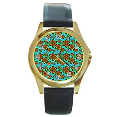 Neon Retro Flowers Aqua Round Gold Metal Watches