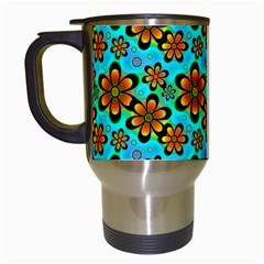 Neon Retro Flowers Aqua Travel Mugs (white) by MoreColorsinLife
