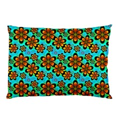 Neon Retro Flowers Aqua Pillow Cases by MoreColorsinLife