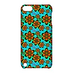 Neon Retro Flowers Aqua Apple Ipod Touch 5 Hardshell Case With Stand by MoreColorsinLife