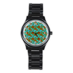 Neon Retro Flowers Aqua Stainless Steel Round Watches by MoreColorsinLife