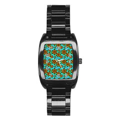 Neon Retro Flowers Aqua Stainless Steel Barrel Watch by MoreColorsinLife