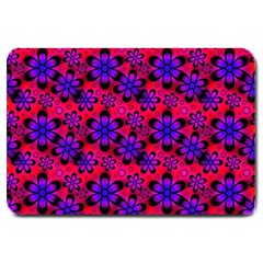 Neon Retro Flowers Pink Large Doormat  by MoreColorsinLife