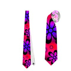 Neon Retro Flowers Pink Neckties (one Side)  by MoreColorsinLife