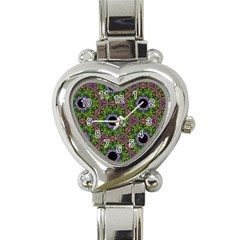 Repeated Geometric Circle Kaleidoscope Heart Italian Charm Watch by canvasngiftshop