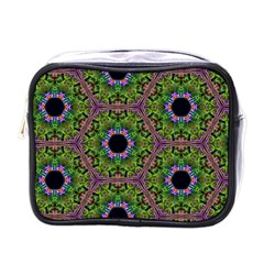 Repeated Geometric Circle Kaleidoscope Mini Toiletries Bags by canvasngiftshop