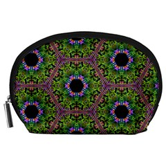Repeated Geometric Circle Kaleidoscope Accessory Pouches (large)  by canvasngiftshop
