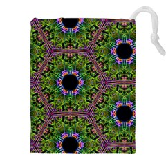 Repeated Geometric Circle Kaleidoscope Drawstring Pouch (xxl)