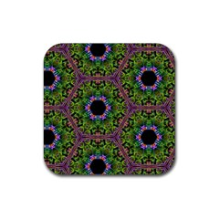 Repeated Geometric Circle Kaleidoscope Rubber Coaster (square)  by canvasngiftshop