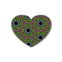 Repeated Geometric Circle Kaleidoscope Heart Coaster (4 Pack)  by canvasngiftshop