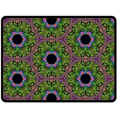 Repeated Geometric Circle Kaleidoscope Double Sided Fleece Blanket (large)  by canvasngiftshop