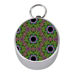 Repeated Geometric Circle Kaleidoscope Mini Silver Compasses