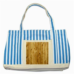 Light Wood Fence Striped Blue Tote Bag  by trendistuff