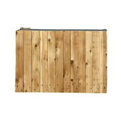 Light Wood Fence Cosmetic Bag (large)  by trendistuff