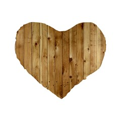 Light Wood Fence Standard 16  Premium Flano Heart Shape Cushions by trendistuff