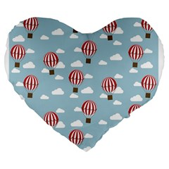 Hot Air Balloon Large 19  Premium Heart Shape Cushions by Kathrinlegg